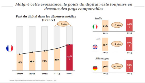 digital dépense publicitaire france 2014