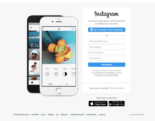 page accueil inscription instagram